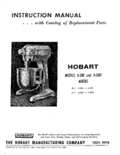 HOBART A-200 INSTRUCTION MANUAL Pdf Download. on