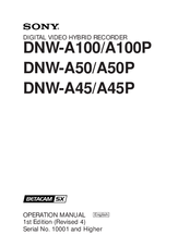 Sony Betacam SX DNW-A100 Operation Manual