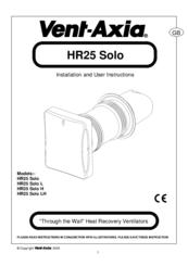 vent axia hr25 solo manuals rh manualslib com Vent-Axia T-Series Vent-Axia UK