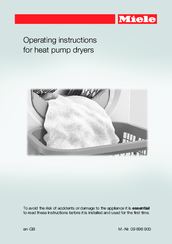Miele heat pump dryer Operating Instructions Manual