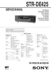 sony str de425 fm stereo fm am receiver manuals rh manualslib com Biggest Sony Stereo Biggest Sony Stereo