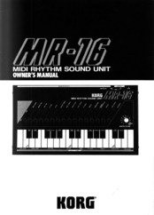 Korg MR-16 Owner's Manual