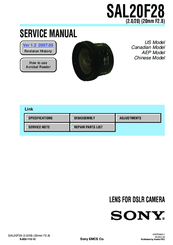 Sony SAL20F28 - Wide-angle Lens - 20 mm Service Manual