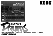 Korg Super Drums DDM-110 Owner's Manual