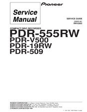 Pioneer PDR-509 Service Manual