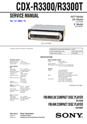sony cdx r3300t manuals