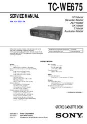 sony tc we675 dual a r cassette deck manuals rh manualslib com sony walkman cassette player manual Sony ES Cassette Decks
