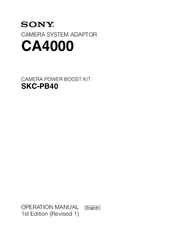 Sony CA4000 Operation Manual