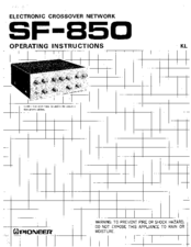 Pioneer SF-850 Operating Instructions Manual