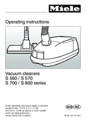 miele s 560 operating instructions manual pdf download rh manualslib com Miele Canister Vacuum Comparison Chart Miele Canister Vacuum Comparison Chart