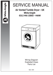 white knight 0312 44a 15003 44aw manuals rh manualslib com white knight tumble dryer cl447wv manual white knight tumble dryer manual download