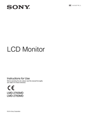 Sony LMD-2760MD Instructions For Use Manual