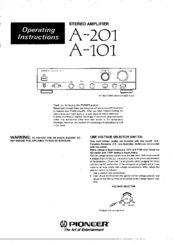 Pioneer A-101 Operating Instructions Manual
