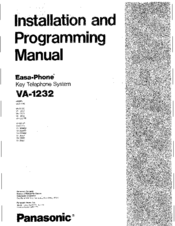Panasonic Easa-Phone VA-12020 Installation And Programming Manual