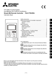 Mitsubishi Electric PAC-YT52CRA Instruction Manual