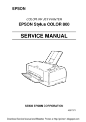 epson stylus color 700 photo inkjet printer service repair manual