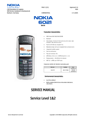 Nokia 2285 - Cell Phone - CDMA2000 1X Service Manual