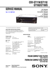 sony cdx gt110 manuals we have 3 sony cdx gt110 manuals available for pdf service manual operating instructions manual installation connections