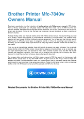 Brother MFC-7840W Owner's Manual