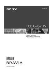 sony bravia klv 40s310a operating instructions manual pdf download rh manualslib com Sony Bravia TV Remote Replacement Sony BRAVIA LED TV Screen Clean