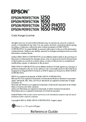 Epson PERFECTION 1650 Reference Manual