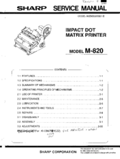 Sharp M-820 Service Manual