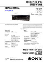 sony cdx gt262s manuals manuals and user guides for sony cdx gt262s we have 1 sony cdx gt262s manual available for pdf service manual