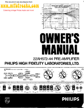 Philips 22AH572-44 Owner's Manual