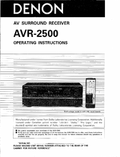 denon avr 2500 operating instructions manual pdf download rh manualslib com denon avr 3500 manual Denon Avrx2500h