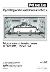 Miele H 5040 Bm Operating And Installation Instructions 76 Pages Microwave Combination Oven