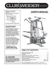 Weider club 16. 6st manual, user manual.