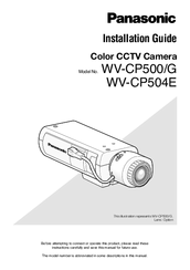 Panasonic WV-CP500/G Installation Manual