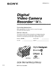 Sony DCR-TRV22 PIXELA ImageMixer v1.5 Operating Instructions Manual