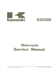 Kawasaki KDX200 Service Manual