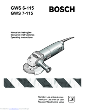 Bosch GWS 6-115 (E) Operating Instructions Manual
