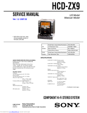 Sony HCD-ZX9 - Receiver Cd Service Manual
