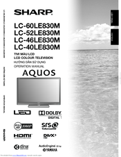 sharp aquos lc 46le830m manuals rh manualslib com Sharp AQUOS Smart TV Sharp AQUOS Smart TV