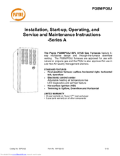 PAYNE PG8M INSTALLATION, START-UP AND SERVICE INSTRUCTIONS MANUAL Pdf Download.