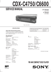 Sony CDX-C4750 - Fm/am Compact Disc Player Service Manual
