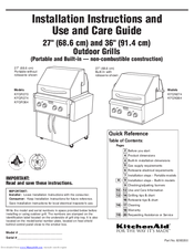 KitchenAid KFGN274 Installation Instructions And Use And Care Manual