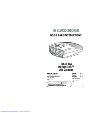 Black & Decker HEPAFresh BXAP041 Use & Care Instructions Manual