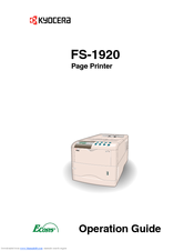 KYOCERA FS FS-1920 OPERATION MANUAL Pdf Download