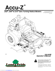 LAND PRIDE ACCUZ Z52 , Z60, Z72 OPERATOR'S MANUAL Pdf Download. on