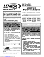 Lennox Hearth Products Direct Vent MPD 40 Series Manuals