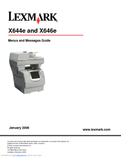 Lexmark X644E - With Modem Taa/gov Menus And Messages Manual