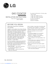 LG Gas Cooktop Installation Instructions Manual