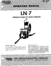 Lincoln Electric LN-7 Operating Manual