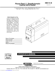 Lincoln Electric IM613-B Operator's Manual