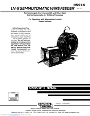 lincoln electric ln-9 semiautomatic wire feeder im294-c operator's manual  pdf download