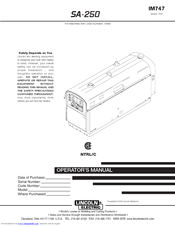 lincoln electric shield arc sa 250 manuals. Black Bedroom Furniture Sets. Home Design Ideas